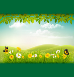 Spring nature landscape background with flowers vector