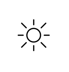 sun light brightness line black icon vector image vector image