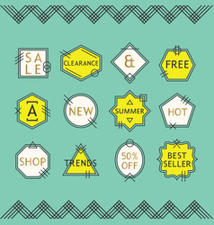 Trendy yellow and white line sale emblems set vector