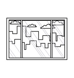 Window interior building urban view outline vector