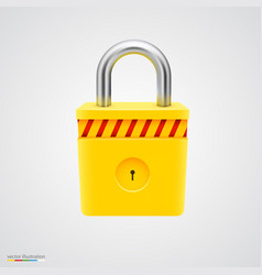 Yellow striped padlock vector