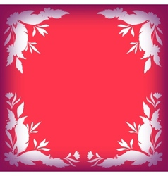 Silhouette leaves flowers and feathers on red vector