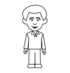 sketch silhouette man dressed casual style vector image