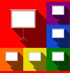 Blank projection screen  set of icons with vector