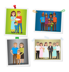 Happy family pinned portraits flat set vector