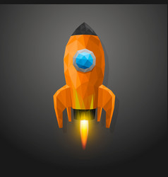 space rocket launch 3d polygon vector image