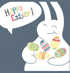 greeting card with with white easter rabbit funny vector image