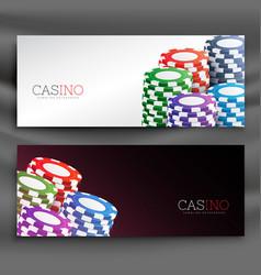 Casino chips header banners set vector