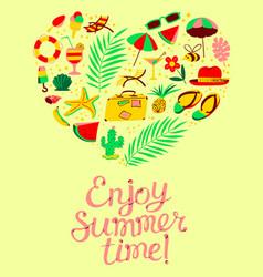 Summer objects set in heart silhouette enjoy vector