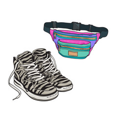 Personal items from 90s - zebra patterned sneakers vector