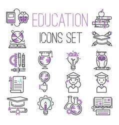 Education graduation school outline icons symbols vector