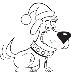 Cartoon santa dog vector