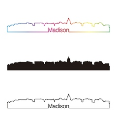 Madison skyline linear style with rainbow vector