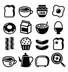 Breakfast food icons set - toast eggs vector image