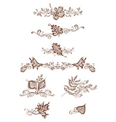 Vintage page decorations with leaves vector