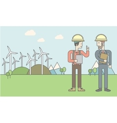 Two man with wind turbines vector