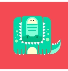 Flat square icon of a cute crocodile vector