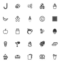 Sweet food line icons on white background vector