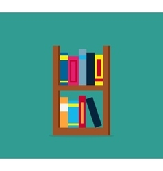 Large bookcase with different books vector