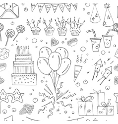Birthday party doodles seamless pattern vector