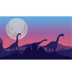 Brachiosaurus of silhouette with moon vector