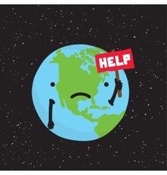 Planet earth need help cartoon vector