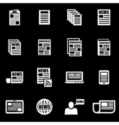 White newspaper icon set vector