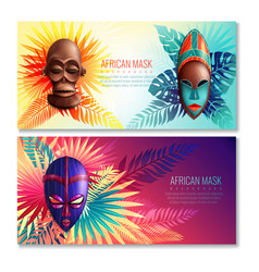 african ethnic mask banners vector image vector image