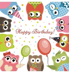 Birdhday card with cute owls vector