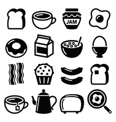 Breakfast food icons set - toast eggs vector image