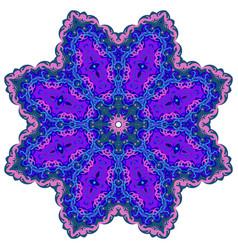 Bright circular ornament purple flower mandala vector