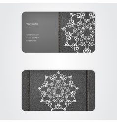 Business card from denim grey ornamental face vector image vector image