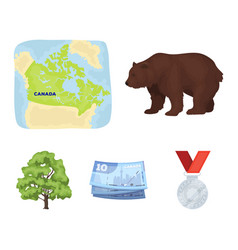Canadian dollar territory map and other symbols vector
