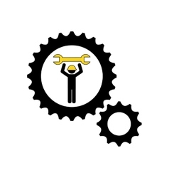 character man worker construction and gears with vector image
