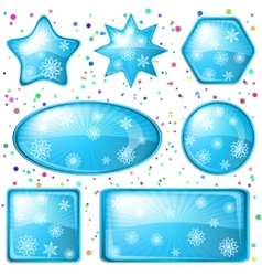 christmas buttons snowflakes set vector image