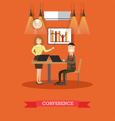 Conference concept in flat vector