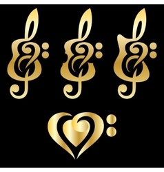 Different golden guitars violin treble clef vector image