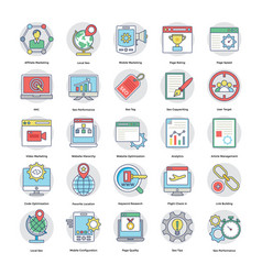 digital and internet marketing flat icons vector image