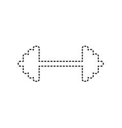 Dumbbell weights sign black dashed icon vector