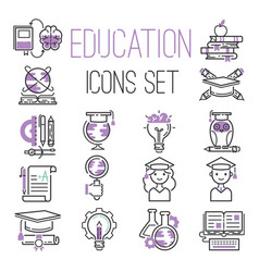 education graduation school outline icons symbols vector image vector image