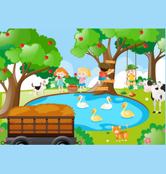 Farm scene with children picking apples vector