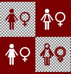 Female sign bordo and white vector
