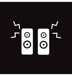 Flat icon in black and white style music speakers vector