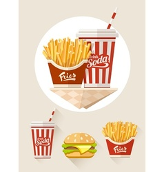 French fries and soda in vector image