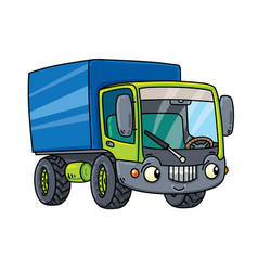 funny small lorry with eyes vector image