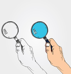 hand with lens vector image
