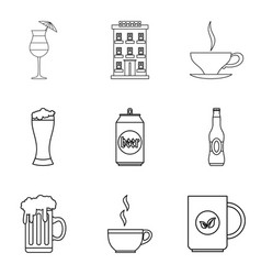 hangover icons set outline style vector image