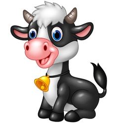 Happy animal baby cow in a sitting posing vector image vector image