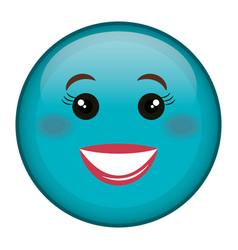 happy face emoticon kawaii character vector image vector image
