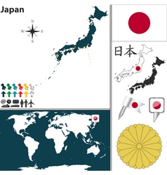 Japan map world vector image